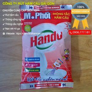 Bột thông bồn cầu Hando, bột thông nghẹt bồn cầu Hando gói 215g